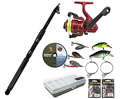 Pike Fishing Kit with 6Ft or 8Ft Carbon Concept Spinning Rod, SY200 Reel, Spinners, Plugs, Lures, Traces, Swivels and Tackle Box. by Roddarch