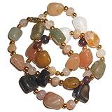 Achat Kette Halskette bunte polierte Edelsteine 45 cm Heilsteine