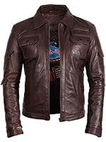 UK Vintage Men's Leather Biker Jacket Brown Real Leather Motor Biker Jacket Slim Fit Coat Outwear Small-5XL