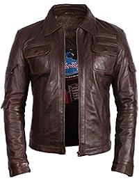 Klassiker Herren Bikerjacke aus Leder Brown Echtes Leder Motor Motorradjacke Slim Fit Coat Outwear Klein-5XL