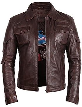 Brandslock De cuero para hombre de la vendimia del motorista Slim Fit Outwear Coat