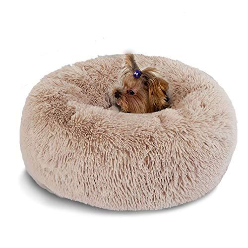 Segle Weich Warm Langes Plüsch Haustierbett Donut Form Hund Katze Rund Bett, Plüsch Hundebett, waschbares Hundekissen Hundesofa Hundekorb hundehütte Katzenbett Tierbett-70cm-Braun -