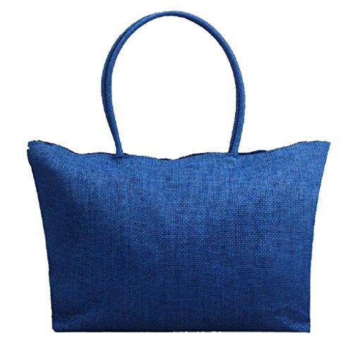 Kangrunmy Semplice colore della caramella grandi Straw Beach Bags donne sacchetto di spalla casuale