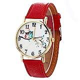 Armbanduhr Damen Ronamick Süße Eulen muster Neutral Mode Leder Quarz Armbanduhr Armband Uhr Uhren(RD)