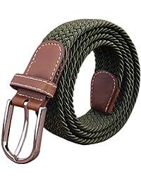 Aiweijia Hombres Mujeres Lienzo Trenzado Junior Tejido Elástico Elástico  Cinturón Elástico Cinturones de Lona Estiramiento Clásico dd37b3ca4e64