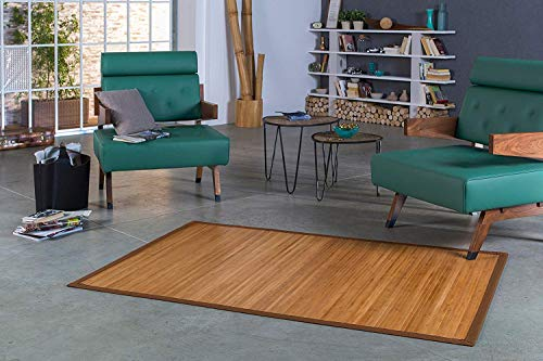DE-COmmerce Bambusteppich Natural Maß ca. 200x250cm, 17mm Stege Natur mit brauner Bordüre