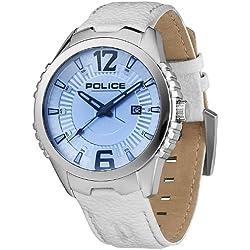 POLICE P13592JS-04 Vice Uhr Herrenuhr Lederarmband Edelstahl 100m Analog Datum weiss