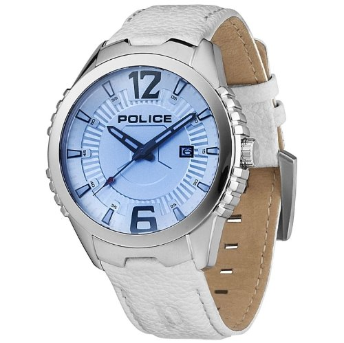Police Men's Vice Blue Dial White Leather Strap Watch- 13592JS/04