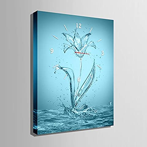 ZRF-pittura Clock Acqua fiore decorazione dipinta ristorante sala soggiorno-camera da letto bambini non orologio scatola,40 * 60CM?senza