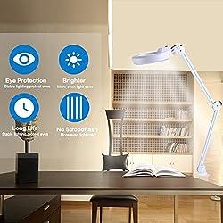 2 Farbe Beauty Cosmetic 5x Vergrößerungs 220-240V LED beleuchtet Schreibtisch Lupe Licht Lampe was bei Juwelieren, Uhrmachern, Kosmetikerinnen und so weiter sehr beliebt ist (Weiß, mit Klammer)