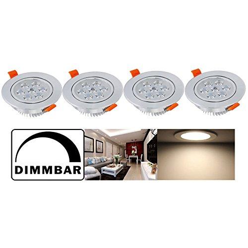 Hengda® 4X 7W LED Einbauleuchte Dimmbar für Den Wohnbereich Deckenleuchten Alu-matt Design 230v Strahler Warmweiß