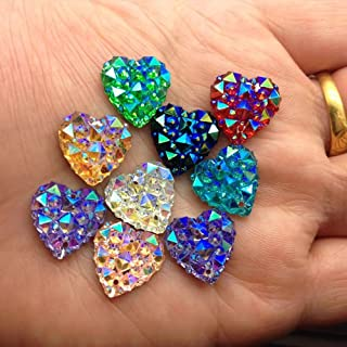 MajorCrafts® 50pcs Mixed Colours AB 12mm Flat Back Heart Sew-On Resin Rhinestones 2 Hole DIY Buttons