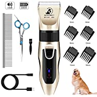 Bonve Pet Dog Grooming Clippers, Cordless Pet Hair Trimmer Low Noise Pet Grooming Tool Rechargeable Professional Grooming Kit for Dogs Cats Horse Pet with Stainless Steel Comb and Scissors