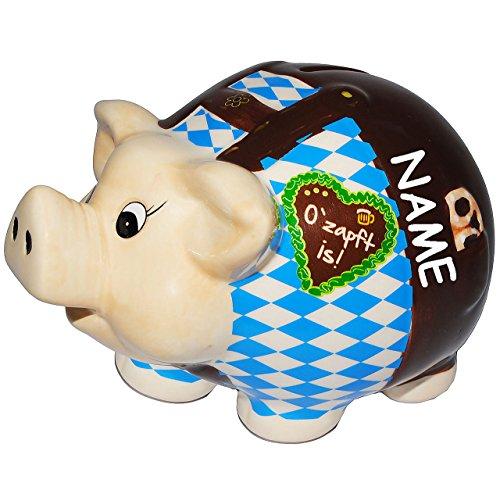 """Preisvergleich Produktbild XL Spardose - """" Oktoberfest - O´zapft is ! """" - incl. Name - stabile Sparbüchse aus Porzellan / Keramik - Sparschwein - für Kinder & Erwachsene / lustig witzig - Reisekasse Urlaub Reisen - Geldgeschenk / Urlaubsreise / Urlaubskasse - verliebt / Bayern - Stammtisch - Vereinskasse - Seppl - Wiesn Wasen - Feiern & Feste / Trachten"""