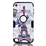 iPod Touch 5th 6th Generation Case, Love Sound [Hard PC+ Soft Silicone] Hybrid Heavy Duty Shockproof Full-Body Protective Case Cover for Apple iPod Touch 5 6th Generation - Butterfly Tower/Black
