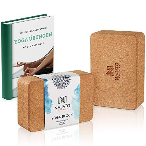 NAJATO Sports Yoga Block Kork 2er Set - Umweltfreundlicher Yogaklotz aus hochwertigem Naturkork - Wählbar mit Yogagurt aus 100{2d6ff50a04d0544f59af329215945749ea464b6701dee81fb03555c7d674d6a3} Baumwolle - Inklusive Übungsanleitungen als Ebook