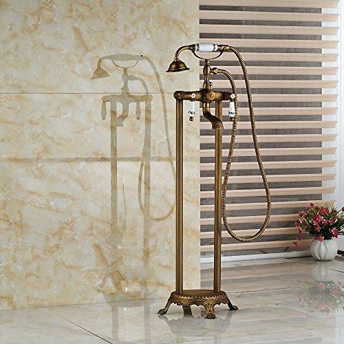 Galvanik Retro Wasserhahn Modern Floor Mount Badezimmer freistehende Badewanne Armatur Freistehend Messing antike Badewanne Mischbatterien, dunkles Khaki