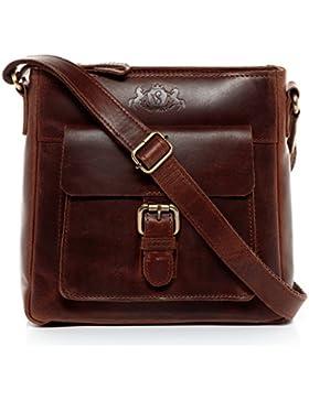 SID & VAIN Schultertasche YALE - Umhängetasche klein - Damentasche im Vintage-Look - echt Natur-Leder