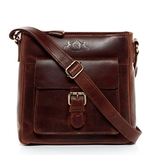 SID & VAIN Schultertasche echt Leder Yale klein Handtasche Schultergurt Umhängetasche Ledertasche Damen braun -