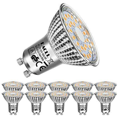 EACLL Gu10 Led Warmweiss 6W Leuchtmittel 2700K 550 Lumen Birnen Entsprechung 75W Par16 Halogenlampe, 10 Pack