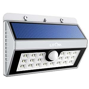 Litom Solarleuchten, Solar Wandleuchte,Solar Außenleuchte 20 helle LED drahtlose Solarleuchte fürGarten, Zaun, Garten, Garten Deko, Garage, Treppe usw. Silber