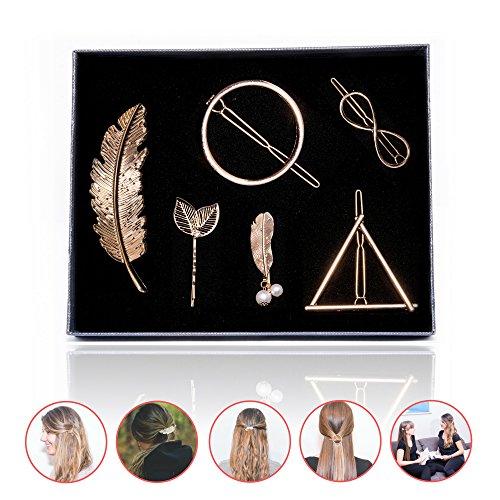 Fesch Monkey | Hochwertiges Haarspangen Set in Box | Geometrisch Dreieck Kreis Unendlichkeit | Haarschmuck Feder Blatt - Ideales Geschenk (GOLD)