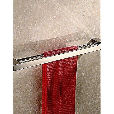 Cuarto de baño de acero inoxidable pulido espejo de pared Toallero doble cuadrado
