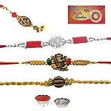 #7: RA-Rock Traditional Religious Raksha Bandhan Special Bhaiya Bhabhi 3 Rakhi Gift Combo with free Chuda Rakhi, Set of 4 Rakhi