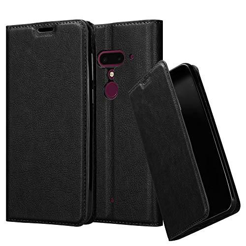 Cadorabo Hülle für HTC U12+ (Plus-Version) - Hülle in Nacht SCHWARZ - Handyhülle mit Magnetverschluss, Standfunktion & Kartenfach - Case Cover Schutzhülle Etui Tasche Book Klapp Style