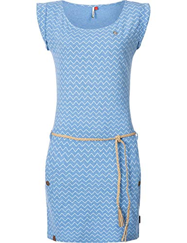 Ragwear Damen Baumwollkleid Jerseykleid Tag Zig Zag Blau Gr. XL - Baumwolle Jersey Kleid Shirt