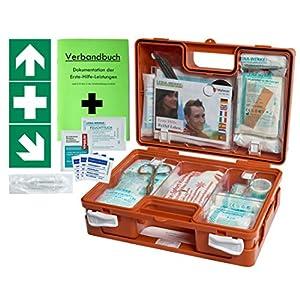 Erste-Hilfe-Koffer (mit Füllung DIN 13157) – incl. Verbandbuch & Wandhalterung für Betriebe + Folien-Aufkleber 1.Hilfe-Kennzeichnung