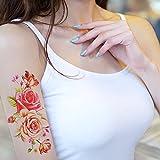 TAFLY Adesivi Di Trasferimento Temporaneo Tatuaggio Braccio Tatuaggio Rosa Peonia Corpo Arte 5 Fogli