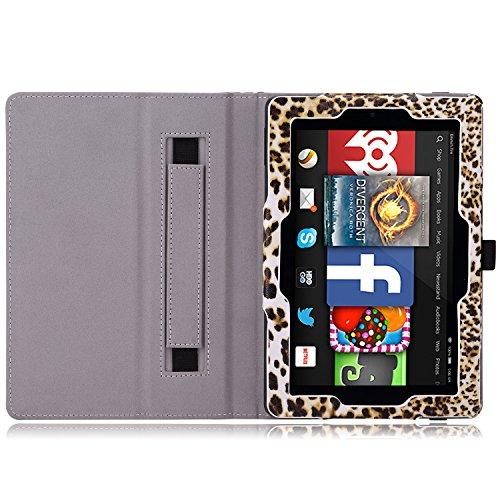MoKo Etui Amazon Kindle Fire HD 7 2014 - Etui Fin et Pliable pour Tablette Kindle Fire HD 7 Pouces 4ème Génération, NOIR Léopard Brun