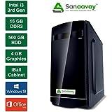Sanaavay I3 Desktop PC - Intel Core I3 3rd Gen, 2GB Graphics GT730, 16GB Ram, Windows 10 Pro, 500GB HDD, MS Office, DVD, WiFi, IBall Cabinet