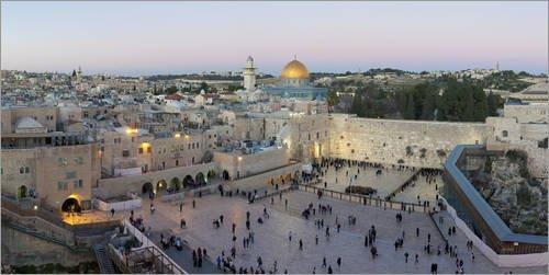 Posterlounge Leinwandbild 180 x 90 cm: Jerusalem mit Klagemauer von Gavin Hellier/Robert Harding - fertiges Wandbild, Bild auf Keilrahmen, Fertigbild auf echter Leinwand, Leinwanddruck