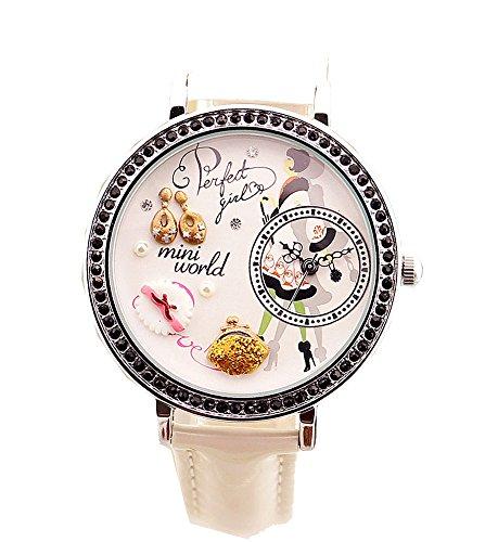 ufengke® walking pendientes pendientes polymerclay vintage elegante correa de reloj de pulsera reloj de vestir rhinestone negro