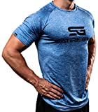 Satire Gym Fitness T-Shirt Herren - Funktionelle Sport Bekleidung - Geeignet Für Workout, Training - Slim Fit (L, blau meliert)