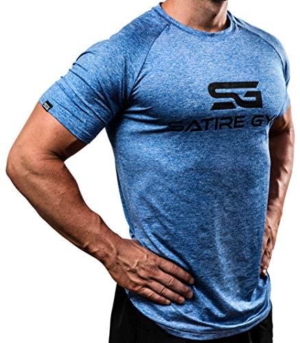 Satire Gym Fitness T-Shirt Herren - Funktionelle Sport Bekleidung - Geeignet Für Workout, Training - Slim Fit (L, blau meliert)