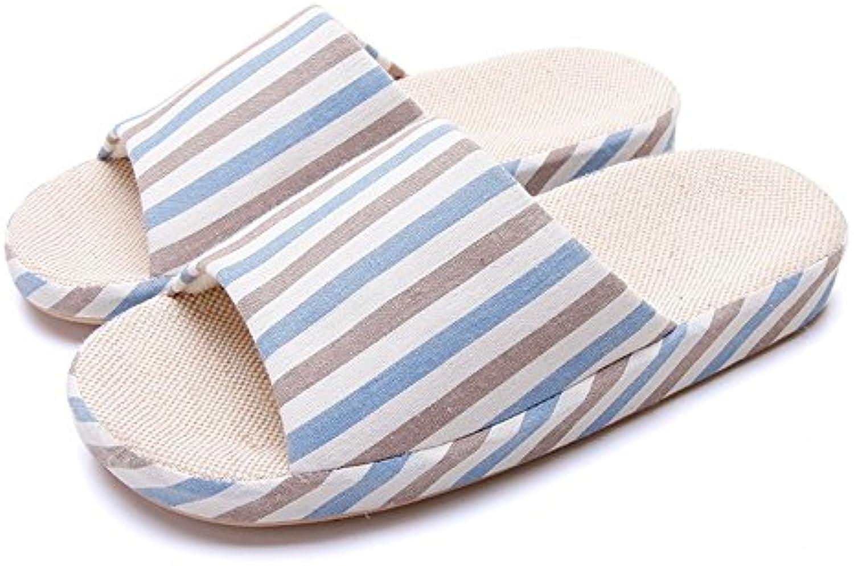 HAIZHEN zapatos de mujer Pantuflas de lino de los pares caseros Resorte femenino y deslizadores inferiores suaves...