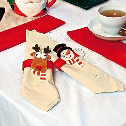 La Fable enchantée ®–Handmade Père Noël 2016renne artisanale enveloppes porte serviettes Sac pour fêtes de Noël, Décoration de Table 6pièces totales