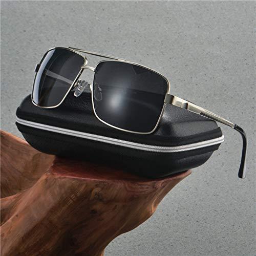 SYQA Sonnenbrillen Herren Driving Male Polarized Sonnenbrillen Vintage Square Frame Eyewear UV400 Neue Herrenbrille mit Box,C2