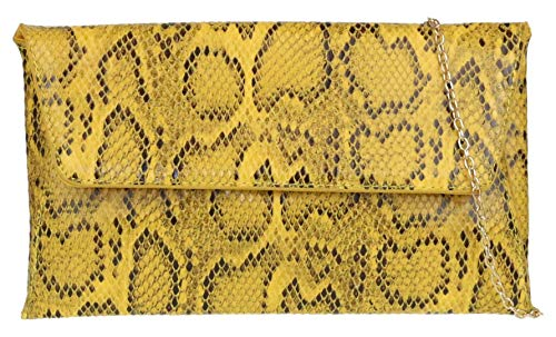 Girly HandBags Schlangen-Haut-Umschlag-Handtasche - GelbGelb -