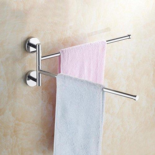 Lnxd Edelstahl Wandhalterung Ausschwenken Handtuchhalter 2-Bar Klappbare Drehbare Haken Handtuchhalter Halter Halter Veranstalter