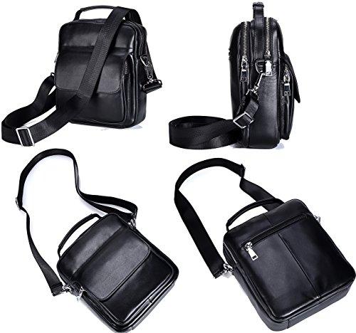 Everdoss Herren echt Leder Vintage Umhängetasche Business Handtasche casual Kuriertaschen Crossbody Schwarz