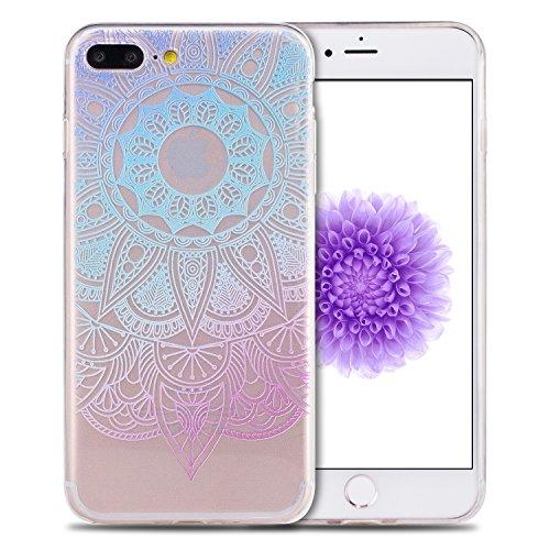 Coque iPhone 7 Plus , Coque iPhone 8 Plus Etui Silicone Transparent Doux TPU Housse Cas Souple Flexible Ultra Mince Csae Cover Soft Gel Pourpre et Rouge Fleurs Motif Dessin Mode E-Lush Enveloppe Coque Bleu