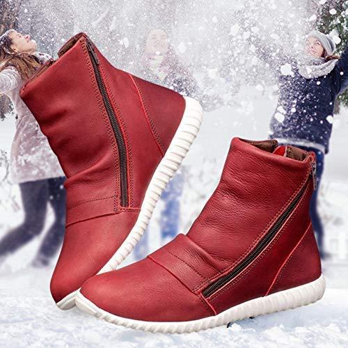 Acreny Flach Absatz Reißverschluss Stiefel PU Schuhe rutschfeste Atmungsaktiv für Damen Stiefeletten für Damen Außen - Rot, 42