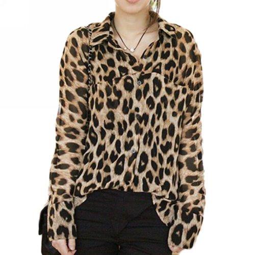 camicetta - TOOGOO(R) New Print donne Animal leopardo sexy parti superiori allentate camicia chiffona collare camicetta
