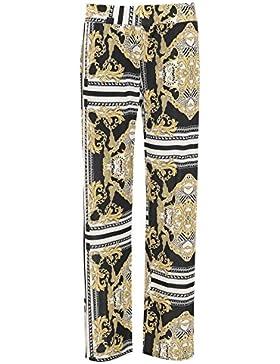 Islander Fashions Womens Baroque Scarf Printed Palazzo Pantalones Ladies Fancy Flared Pantalones de pierna ancha...