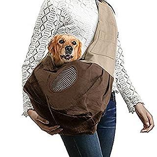 Transporttasche für kleine Hunde und Katzen - AntEuro Breathable hundetaschen für kleine hunde, tragetasche katze, Oxford Tuch Single-Schulter Sling (Braun)