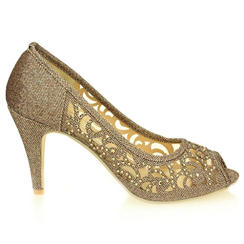 Aarz donne di sera del partito di promenade di nozze signore alto tacco peep toe Diamante sandalo calza il formato (Oro, Argento, Champagne, Nero, Marrone) Marrone
